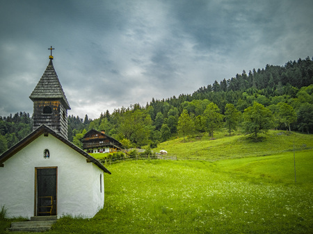 Landscape with a little chapel in Bavarian Alps, Germany