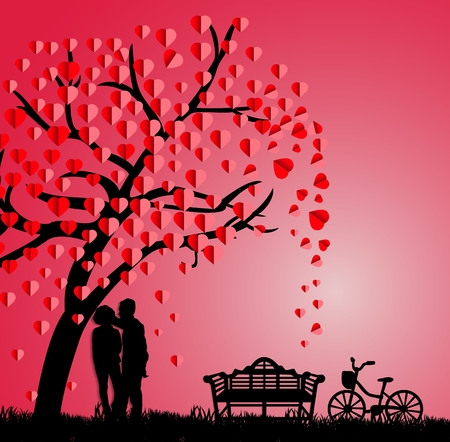 flirting: Silhouette of couple under a love tree in the spring season