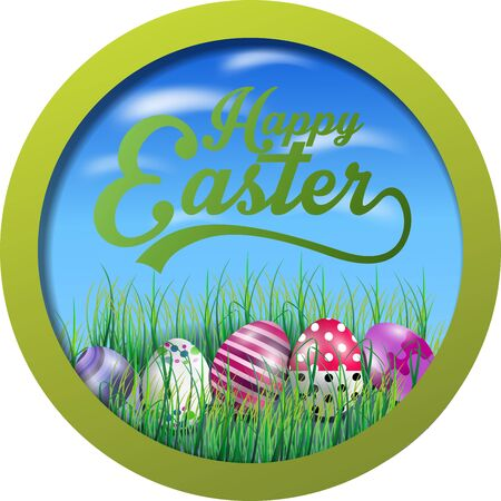 Easter background with eggs in the grass on round frame