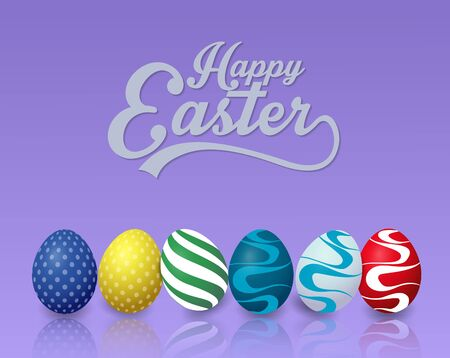 Happy easter background with colorful easter eggs on blue background Ilustracja