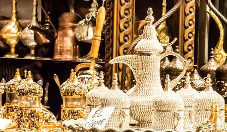 Turkish decorative luxurious tea pot and glasses for sale in grand bazaar