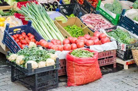 Vegetables and fruits stall on the streets of istanbul, Turkey. Organic food concept.