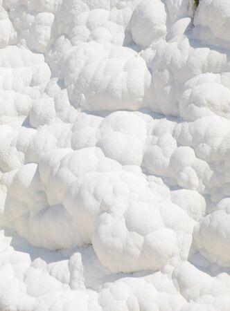 Pamukalle Turkey sedimentation calk walls as a white bubble background pattern Stock fotó