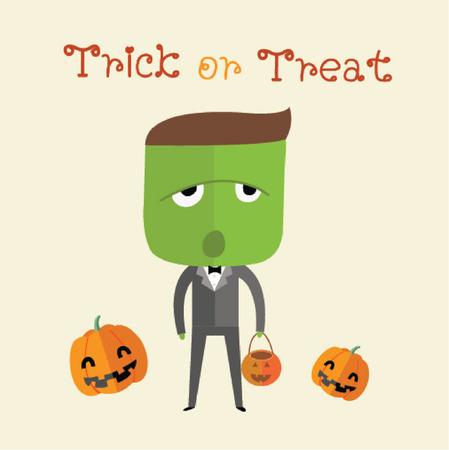 treating: happy halloween Illustration