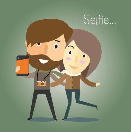 young group: selfie with girlfriend