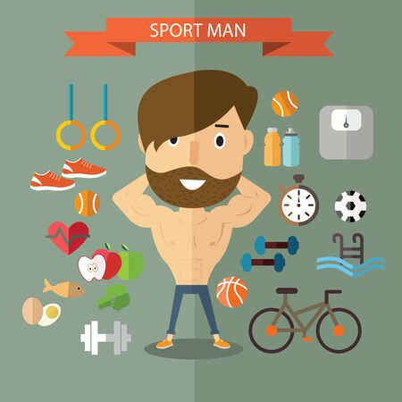 heathy: sport man good heathy Illustration