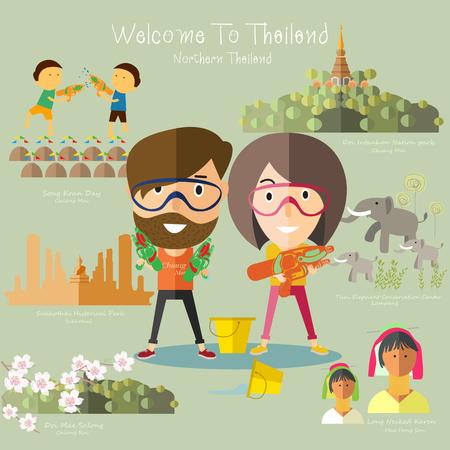 タイ北部への観光旅行  イラスト・ベクター素材