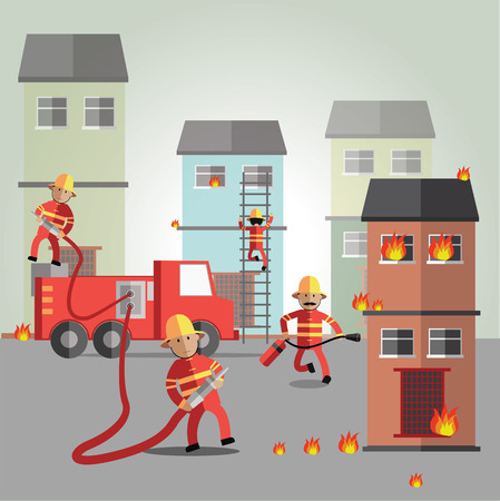 house fire: fireman Illustration