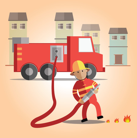 fire truck: fireman Illustration