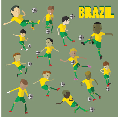 football kick: Brazil football character Illustration