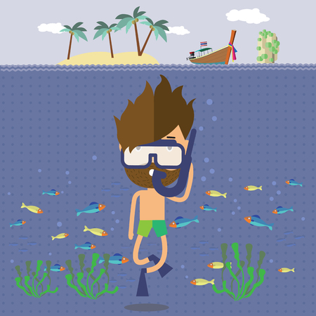 diver: the diver travel to the sea Thailand Illustration