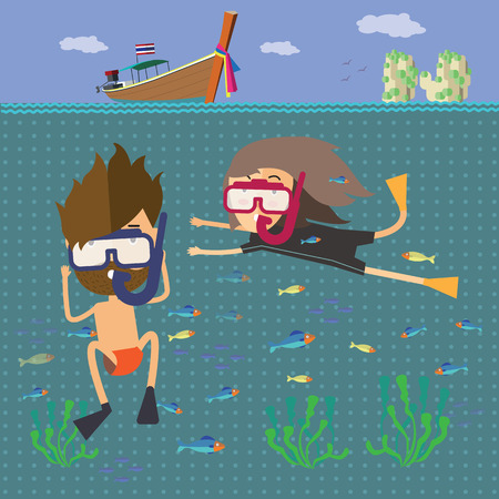 samui: the diver travel to the sea Thailand Illustration