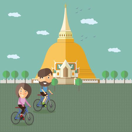asian family: tourist ride bicycle at Thailand Illustration