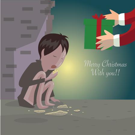underprivileged: merry christmas for Disadvantaged children. Illustration