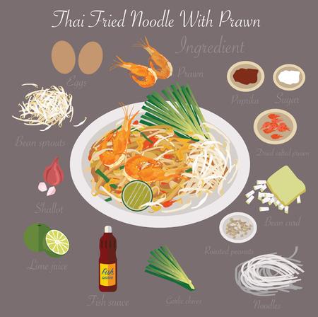 Thai food Thai Fried Noodle With Prawn 일러스트