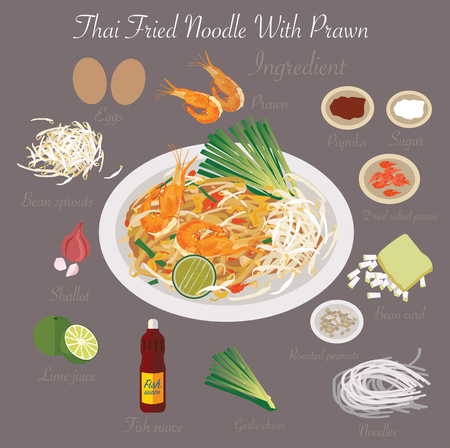 fried noodles: Thai food Thai Fried Noodle With Prawn Illustration