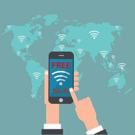 hand phone: free wifi with world map