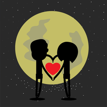happyness: happy valentine with the moon Illustration
