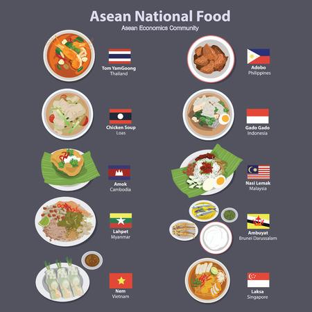 national: alimentos Asean Economía Comunidad AEC Vectores