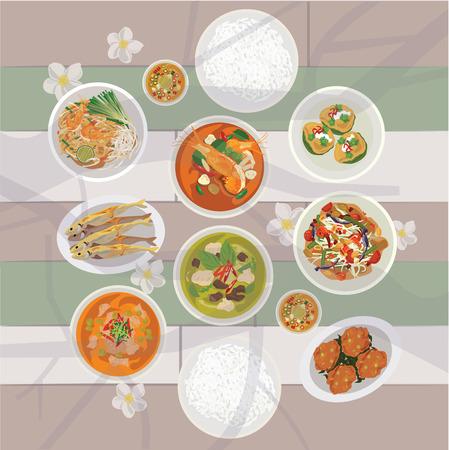 curry dish: Thai food set on the table Illustration