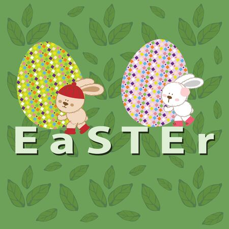 Easter with bunny and eggs Illustration