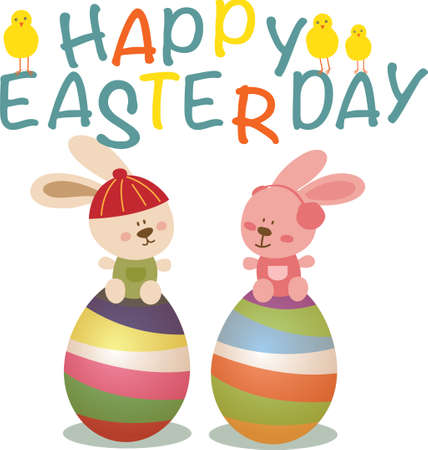 Easter day with bunny and eggs Illustration