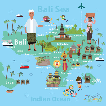 Bali indonesië Stock Illustratie