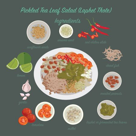 food illustration: Myanmar food. pickled Tea Leaf Salad(Laphet Thote) Illustration