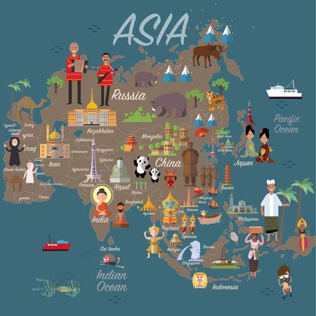 carte Asie et Voyage Vecteurs