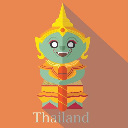 Giant statue in Wat Phra Kaew of Thailand.