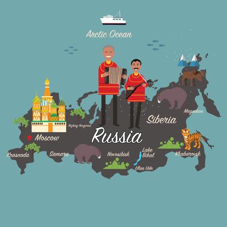 Rusland kaart en reizen