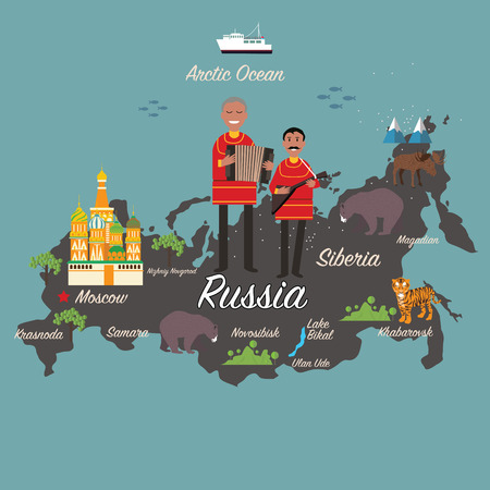 Russia map and travel Stok Fotoğraf - 57969818