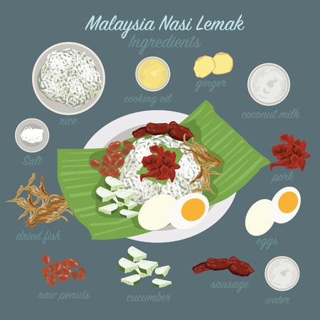 chicken rice: Malaysia food (Nasi Lemak) Illustration