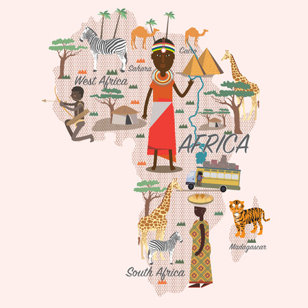 Africa map and travel Illustration