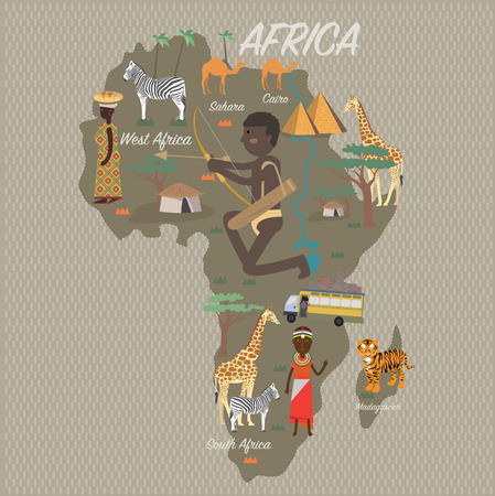 Africa map and travel Çizim
