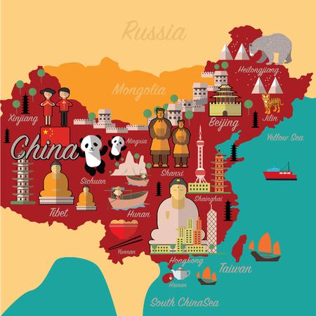 중국지도와 travel.China 랜드 마크