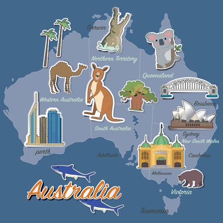 Australia map and travel icon Çizim