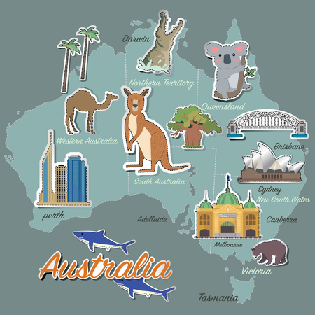 australia landscape: Australia map and travel icon Illustration