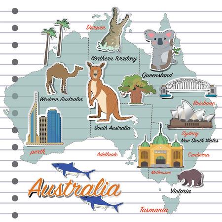 Australie carte et icône de Voyage Banque d'images - 59162536