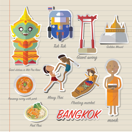 Bangkok Thailand icon and travel Çizim