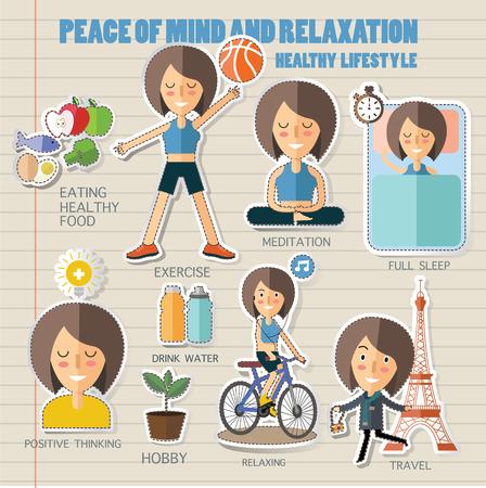 salud y deporte: mina de la paz y el estilo de vida relaxation.healthy Vectores