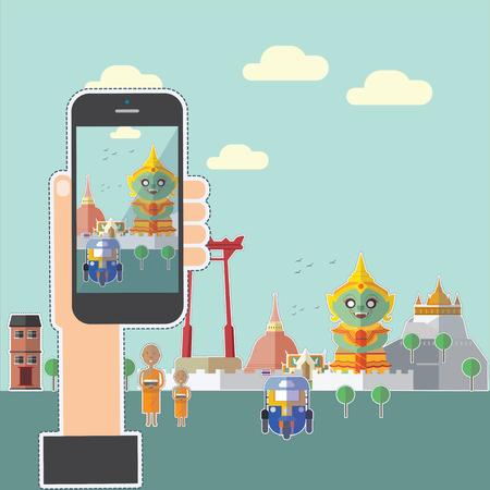Taking photo on smart phone of Bangkok,Thailand