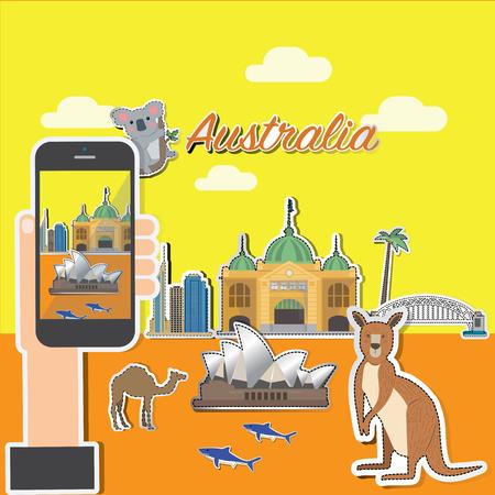 Taking photo on smart phone of Australia.