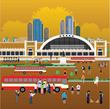 Bangkok train station ( Hua Lamphong Station ) Çizim