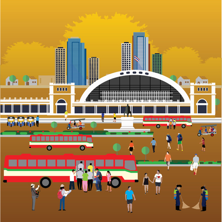 Bangkok train station ( Hua Lamphong Station ) Illustration