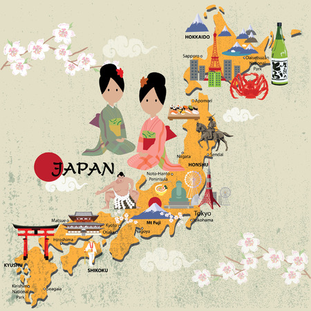Japan map illustrator