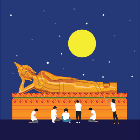 buddha in Thailand with full-moon Stock Vector - 126254551