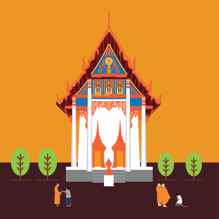 temple thailand with monk