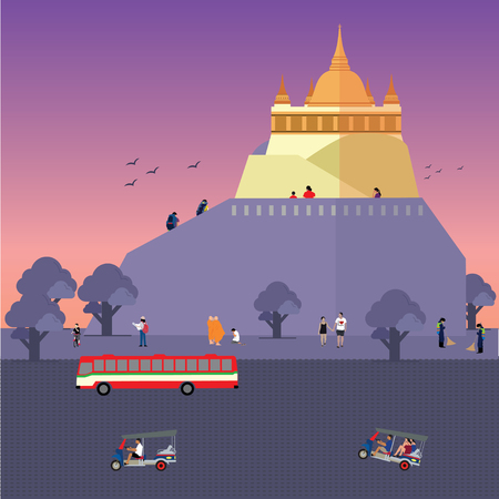 Wat Saket or Golden Mount(Phu Khao Thong) Illustration