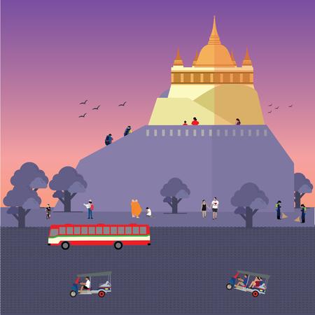 Wat Saket or Golden Mount(Phu Khao Thong) Çizim